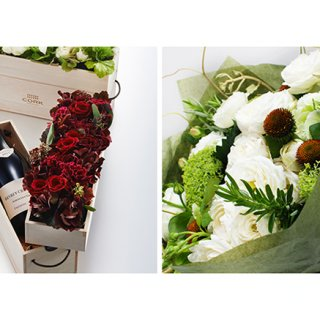 伝えきれないほどの感謝を「CORK」のワインにお花を添えて
