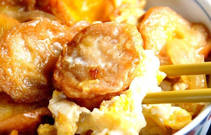 濃い目の甘じょっぱいタレ付き!おうちで食べる、宮城登米ご当地グルメ「あぶら麩丼」