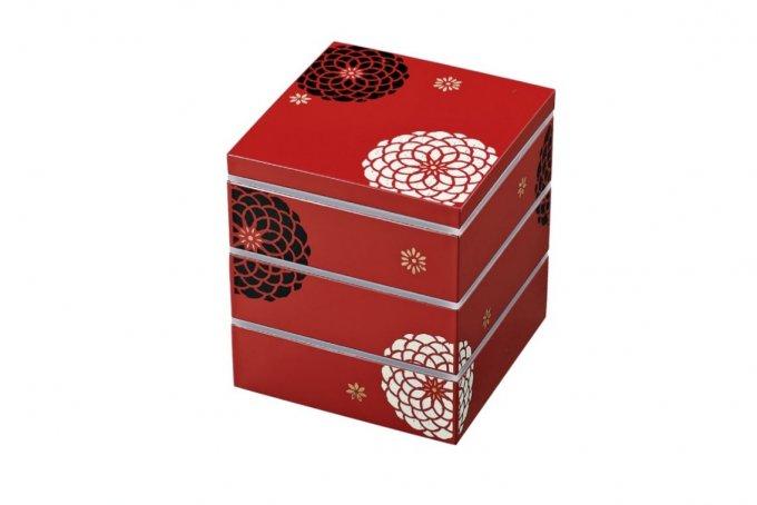 立体的で華やかな模様「盛り絵」が素敵!モダンな菊の和柄が美しいお重箱