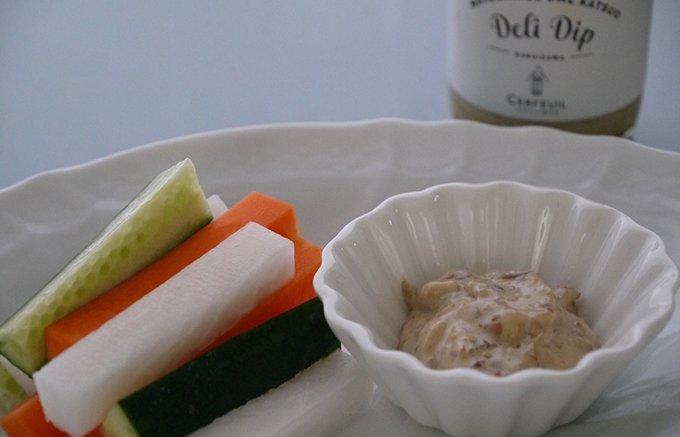 濃縮された素材のうまみを味わうディップ「和風梅かつおマヨ」