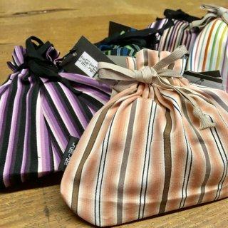 武士の袴用生地「小倉織縞縞」で仕立てた袋に背筋が伸びる、手作り抹茶飴